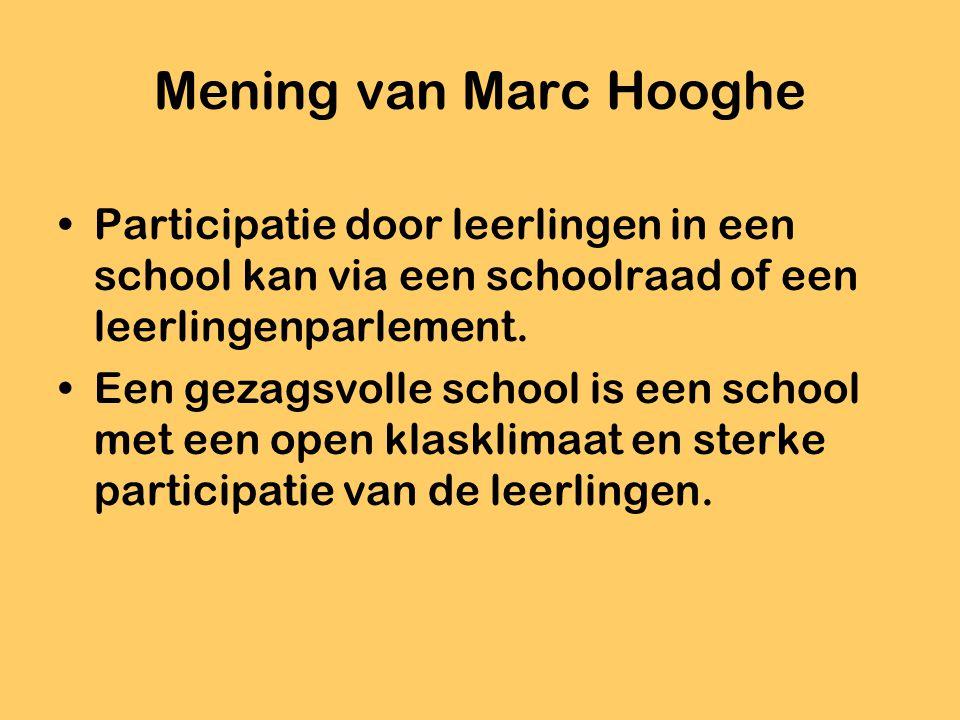 Mening van Marc Hooghe Participatie door leerlingen in een school kan via een schoolraad of een leerlingenparlement. Een gezagsvolle school is een sch