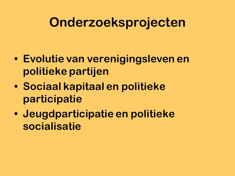 Onderzoeksprojecten Evolutie van verenigingsleven en politieke partijen Sociaal kapitaal en politieke participatie Jeugdparticipatie en politieke soci