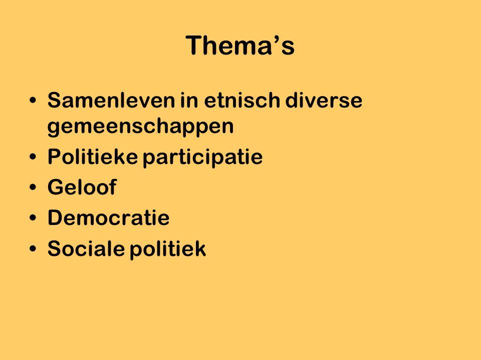 Thema's Samenleven in etnisch diverse gemeenschappen Politieke participatie Geloof Democratie Sociale politiek