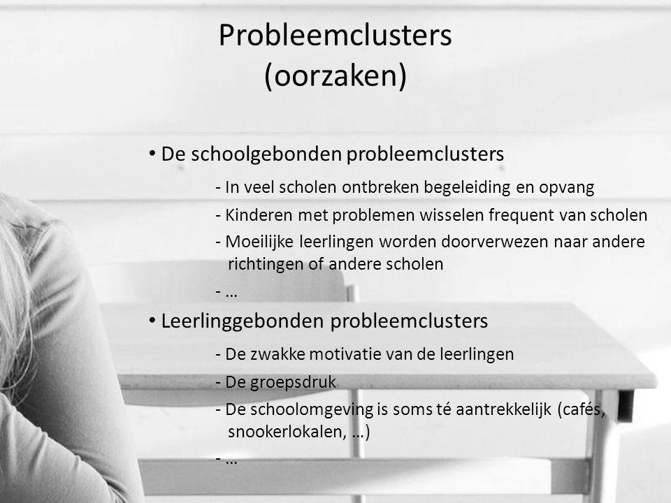 Probleemclusters (oorzaken) De schoolgebonden probleemclusters - In veel scholen ontbreken begeleiding en opvang - Kinderen met problemen wisselen fre