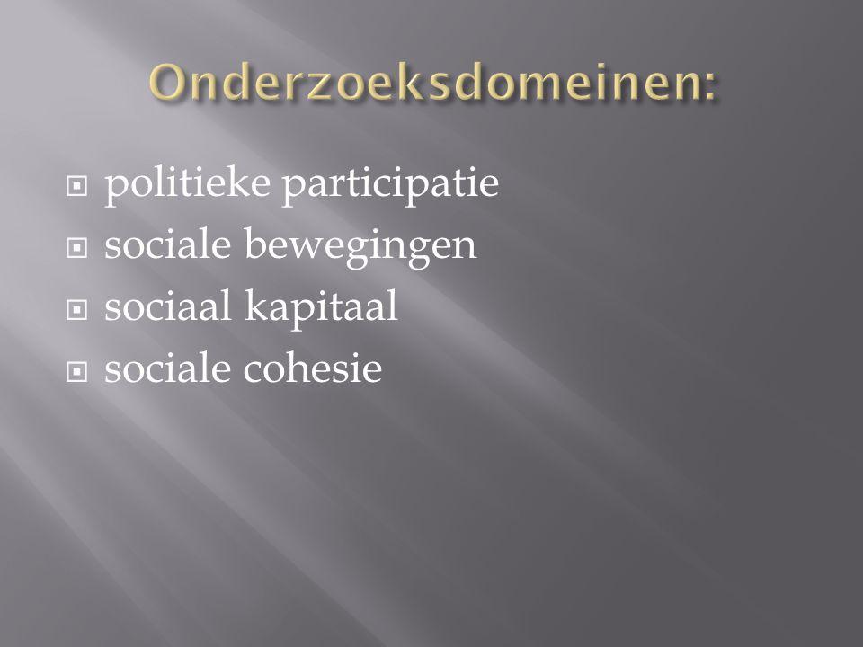  politieke participatie  sociale bewegingen  sociaal kapitaal  sociale cohesie