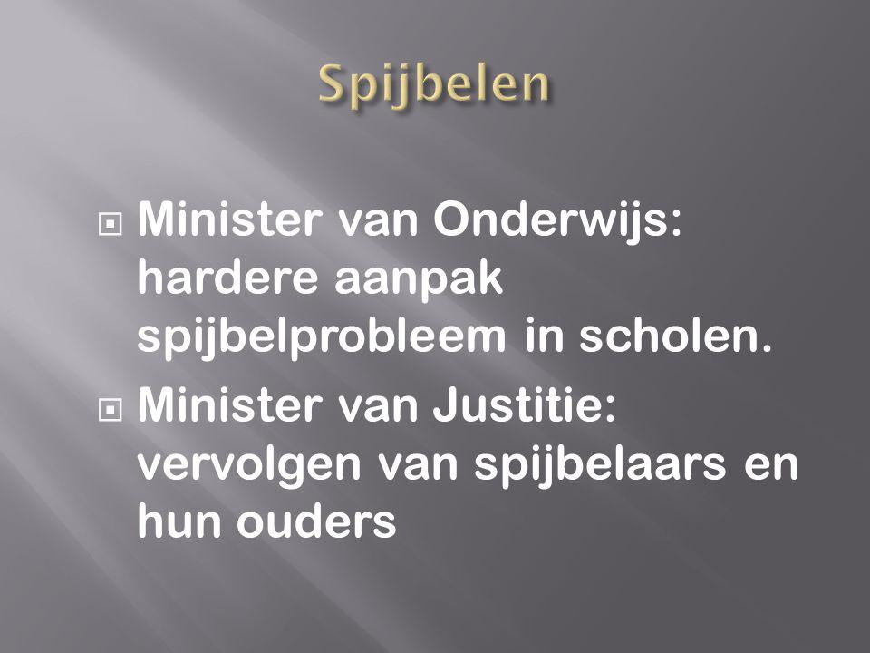  Minister van Onderwijs: hardere aanpak spijbelprobleem in scholen.  Minister van Justitie: vervolgen van spijbelaars en hun ouders