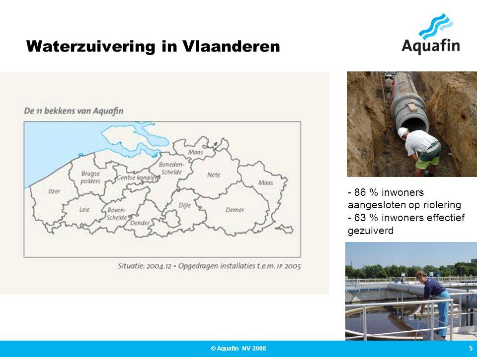 6 © Aquafin NV 2008 Waterzuivering in Vlaanderen Boven Schelde 80 % op riolering aangesloten 64 % effectief gezuiverd