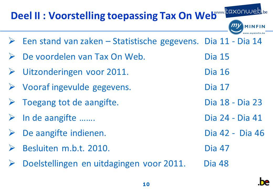 10 Deel II : Voorstelling toepassing Tax On Web  Een stand van zaken – Statistische gegevens.