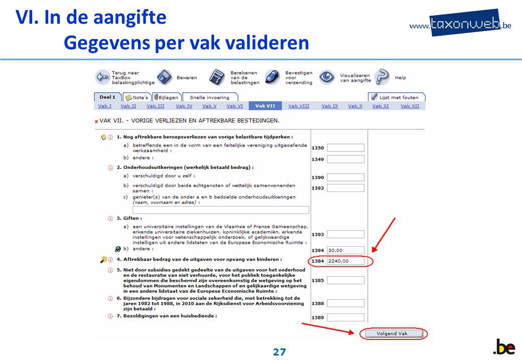 27 VI. In de aangifte Gegevens per vak valideren