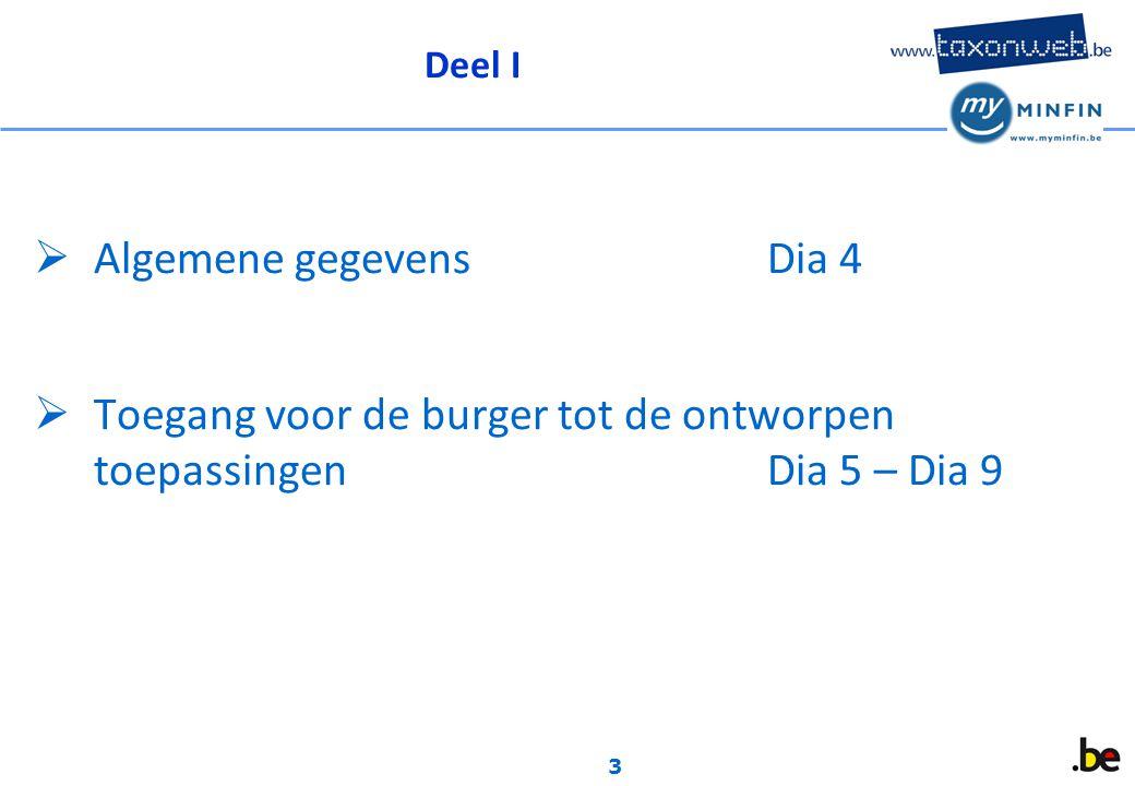 3 Deel I  Algemene gegevensDia 4  Toegang voor de burger tot de ontworpen toepassingenDia 5 – Dia 9