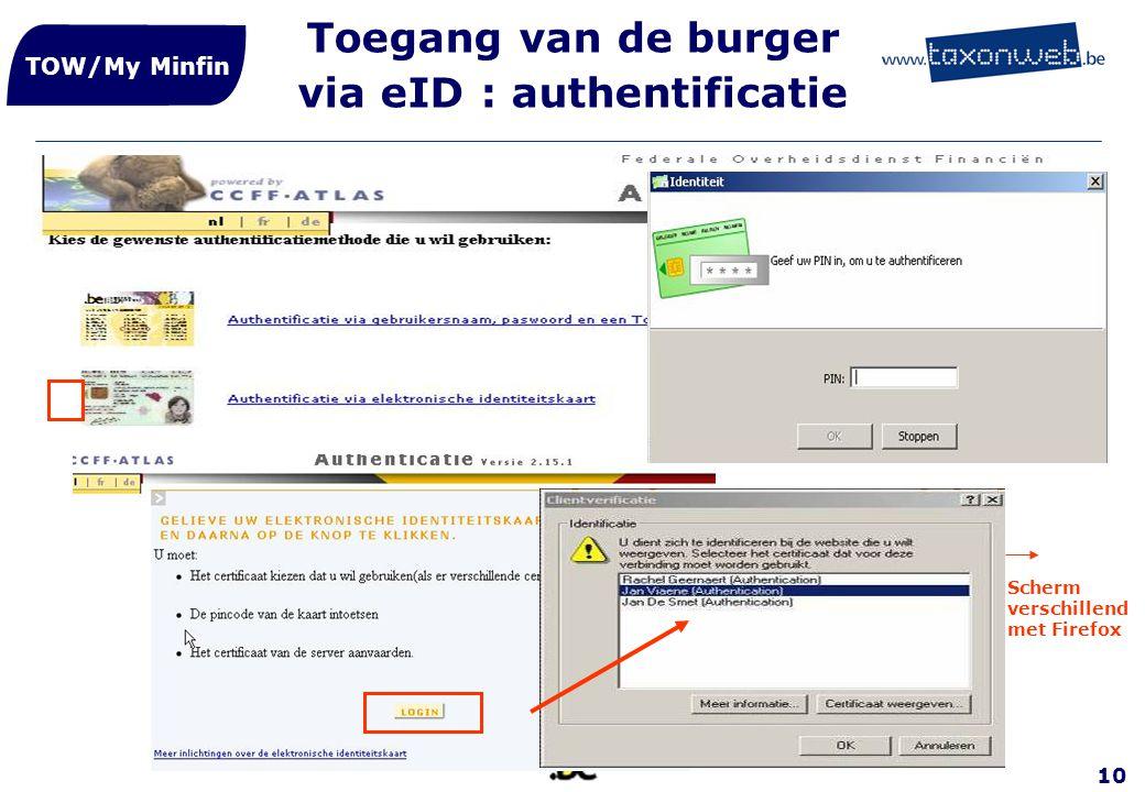 10 Toegang van de burger via eID : authentificatie TOW/My Minfin Scherm verschillend met Firefox