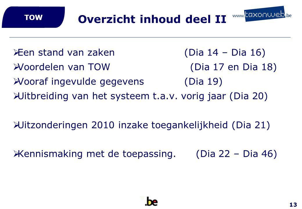 13 Overzicht inhoud deel II  Een stand van zaken (Dia 14 – Dia 16)  Voordelen van TOW (Dia 17 en Dia 18)  Vooraf ingevulde gegevens (Dia 19)  Uitb