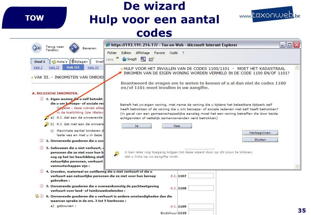 35 De wizard Hulp voor een aantal codes TOW