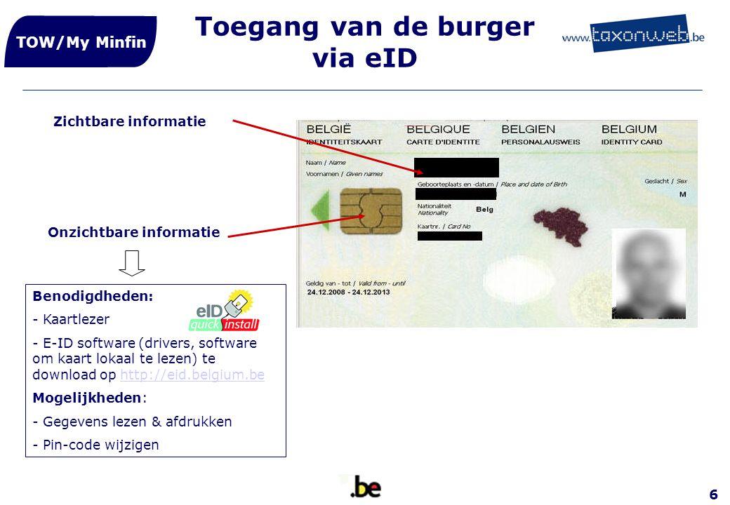 6 Toegang van de burger via eID TOW/My Minfin Zichtbare informatie Onzichtbare informatie Benodigdheden: - Kaartlezer - E-ID software (drivers, softwa