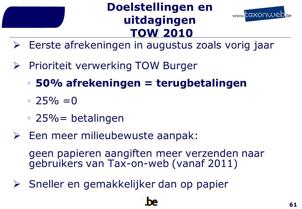 61 Doelstellingen en uitdagingen TOW 2010  Eerste afrekeningen in augustus zoals vorig jaar  Prioriteit verwerking TOW Burger  50% afrekeningen = t