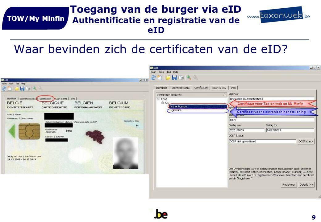 9 Toegang van de burger via eID Authentificatie en registratie van de eID Waar bevinden zich de certificaten van de eID? TOW/My Minfin