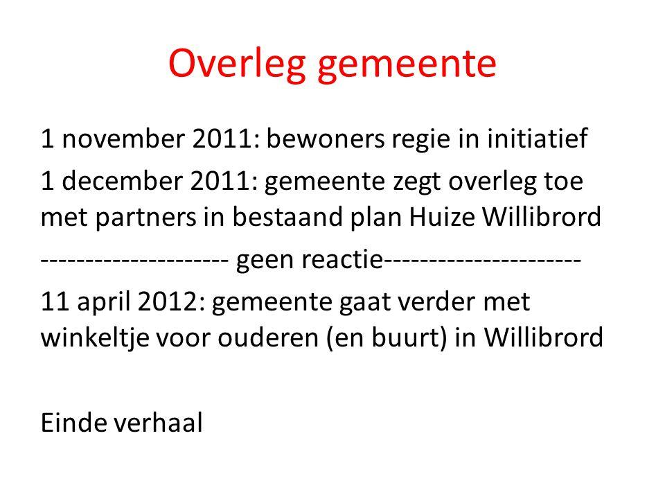 Overleg gemeente 1 november 2011: bewoners regie in initiatief 1 december 2011: gemeente zegt overleg toe met partners in bestaand plan Huize Willibrord --------------------- geen reactie---------------------- 11 april 2012: gemeente gaat verder met winkeltje voor ouderen (en buurt) in Willibrord Einde verhaal