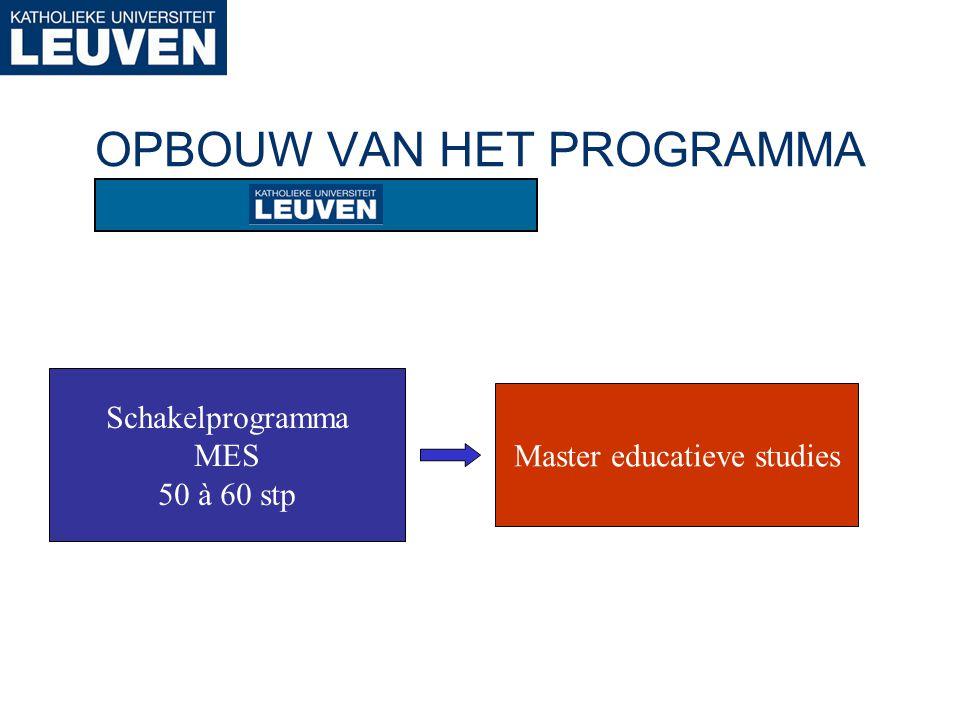OPBOUW VAN HET PROGRAMMA Schakelprogramma MES 50 à 60 stp Master educatieve studies
