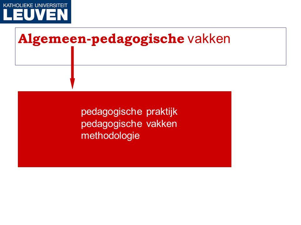 Algemeen-pedagogische vakken pedagogische praktijk pedagogische vakken methodologie