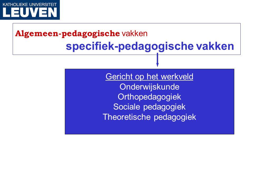 Algemeen-pedagogische vakken specifiek-pedagogische vakken Gericht op het werkveld Onderwijskunde Orthopedagogiek Sociale pedagogiek Theoretische peda