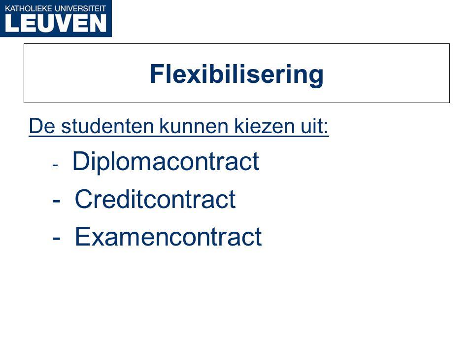 Flexibilisering De studenten kunnen kiezen uit: - Diplomacontract - Creditcontract - Examencontract
