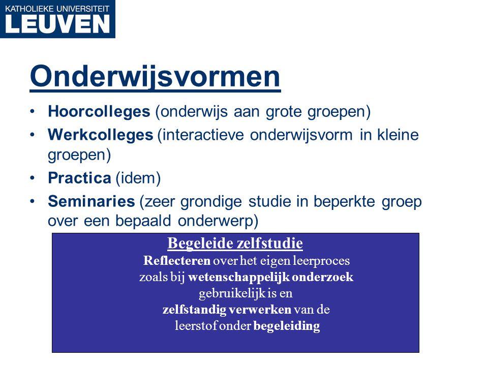 Onderwijsvormen Hoorcolleges (onderwijs aan grote groepen) Werkcolleges (interactieve onderwijsvorm in kleine groepen) Practica (idem) Seminaries (zee