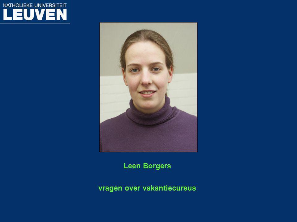vragen over vakantiecursus Leen Borgers