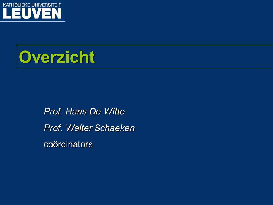 Prof. Hans De Witte Prof. Walter Schaeken coördinators Overzicht
