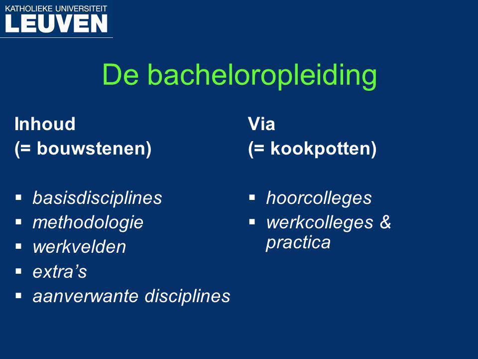 De bacheloropleiding Inhoud (= bouwstenen)  basisdisciplines  methodologie  werkvelden  extra's  aanverwante disciplines Via (= kookpotten)  hoo