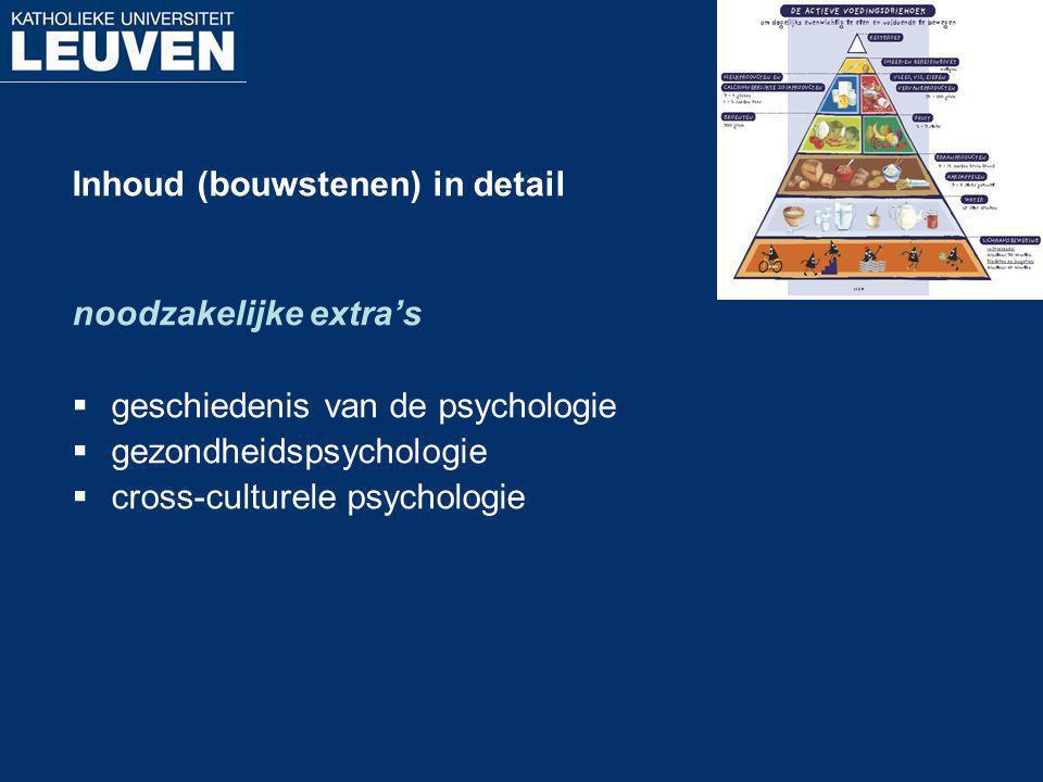 Inhoud (bouwstenen) in detail noodzakelijke extra's  geschiedenis van de psychologie  gezondheidspsychologie  cross-culturele psychologie