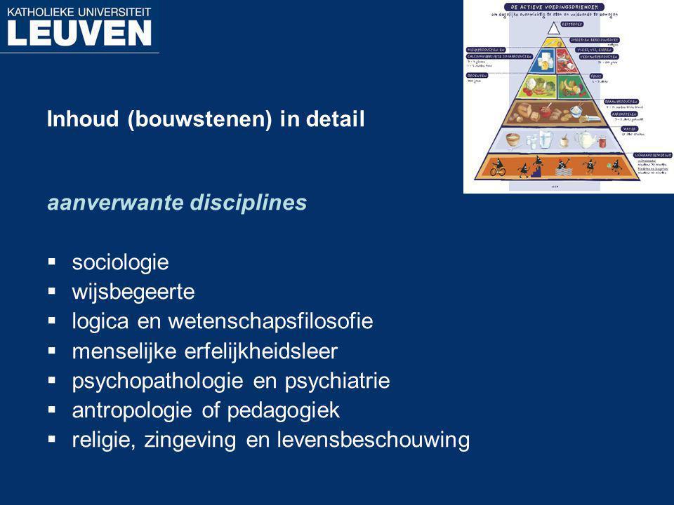 Inhoud (bouwstenen) in detail aanverwante disciplines  sociologie  wijsbegeerte  logica en wetenschapsfilosofie  menselijke erfelijkheidsleer  ps