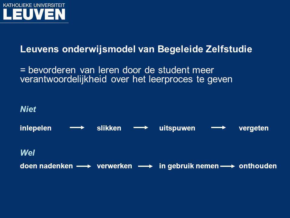 Leuvens onderwijsmodel van Begeleide Zelfstudie = bevorderen van leren door de student meer verantwoordelijkheid over het leerproces te geven Niet inl