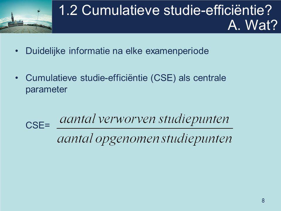 9 1.2 Cumulatieve studie-efficiëntie Léon neemt 60 studiepunten op in zijn ISP.