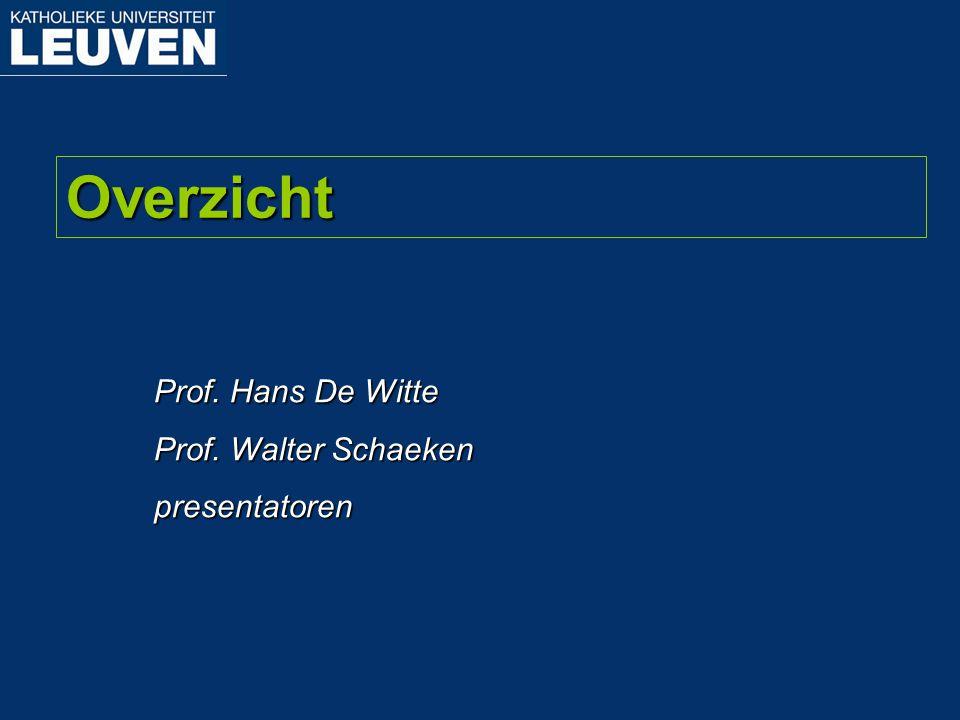 Prof. Hans De Witte Prof. Walter Schaeken presentatoren Overzicht
