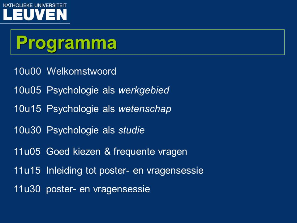 Leuvens onderwijsmodel van Begeleide Zelfstudie = bevorderen van leren door de student meer verantwoordelijkheid over het leerproces te geven Niet Wel