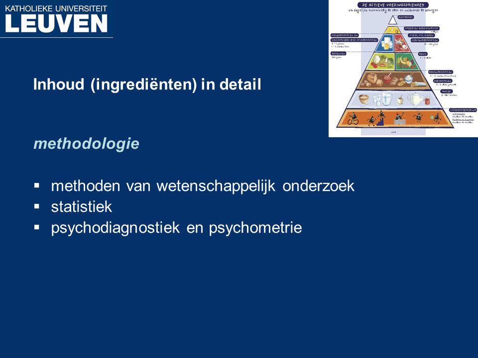 Inhoud (ingrediënten) in detail methodologie  methoden van wetenschappelijk onderzoek  statistiek  psychodiagnostiek en psychometrie