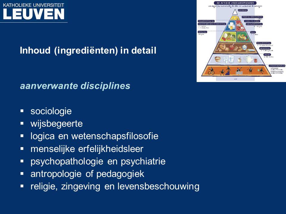 Inhoud (ingrediënten) in detail aanverwante disciplines  sociologie  wijsbegeerte  logica en wetenschapsfilosofie  menselijke erfelijkheidsleer 