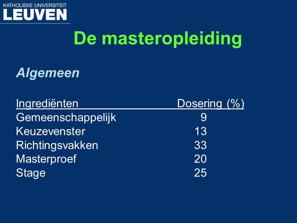De masteropleiding Algemeen Ingrediënten Dosering (%) Gemeenschappelijk 9 Keuzevenster13 Richtingsvakken33 Masterproef20 Stage25