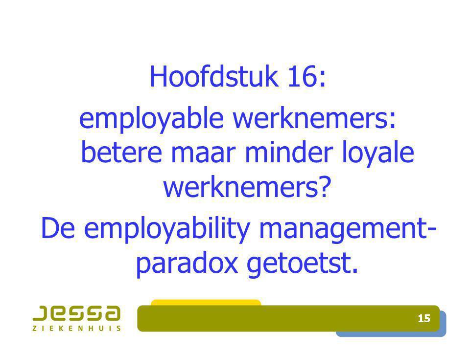 15 Hoofdstuk 16: employable werknemers: betere maar minder loyale werknemers.