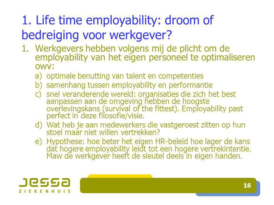 16 1. Life time employability: droom of bedreiging voor werkgever.