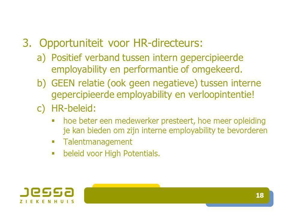 18 3.Opportuniteit voor HR-directeurs: a)Positief verband tussen intern gepercipieerde employability en performantie of omgekeerd.