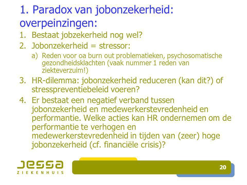 20 1. Paradox van jobonzekerheid: overpeinzingen: 1.Bestaat jobzekerheid nog wel.
