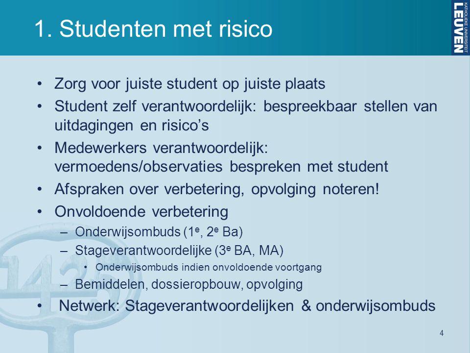 1. Studenten met risico 4 Zorg voor juiste student op juiste plaats Student zelf verantwoordelijk: bespreekbaar stellen van uitdagingen en risico's Me