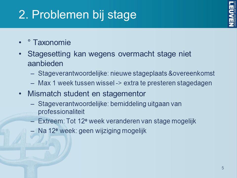 2. Problemen bij stage ° Taxonomie Stagesetting kan wegens overmacht stage niet aanbieden –Stageverantwoordelijke: nieuwe stageplaats &overeenkomst –M