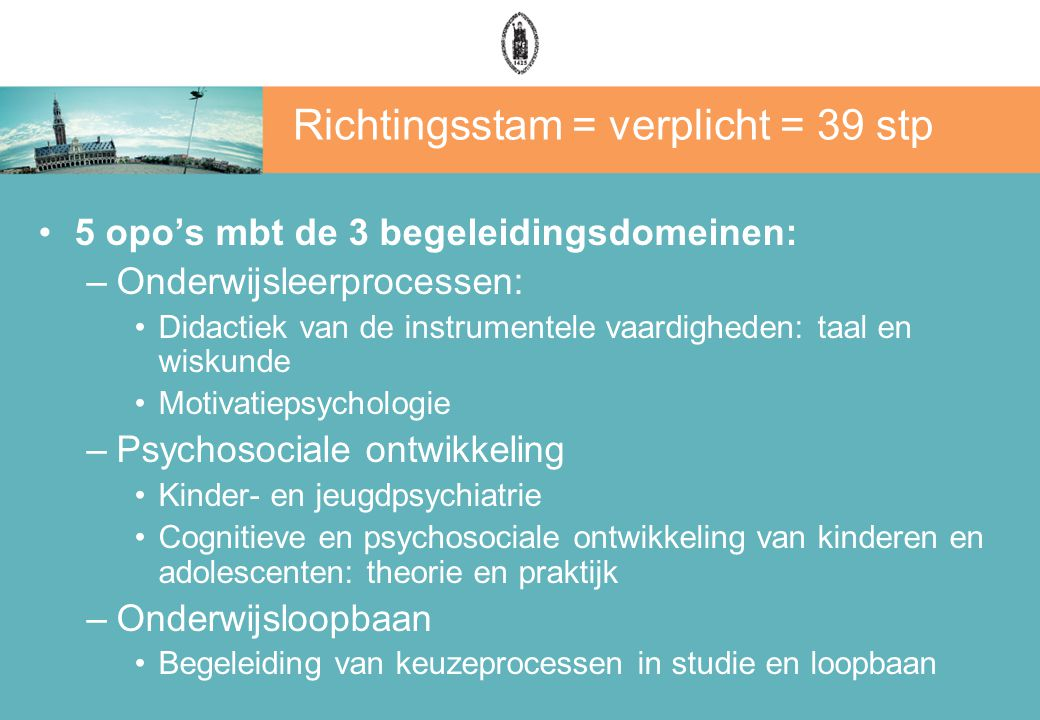 Richtingsstam = verplicht = 39 stp 5 opo's mbt de 3 begeleidingsdomeinen: –Onderwijsleerprocessen: Didactiek van de instrumentele vaardigheden: taal e