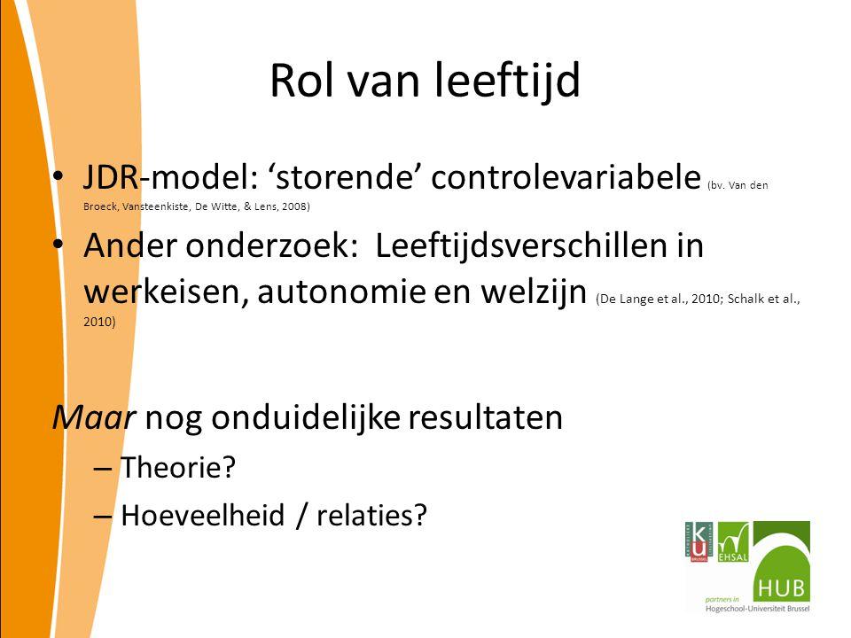 Rol van leeftijd JDR-model: 'storende' controlevariabele (bv. Van den Broeck, Vansteenkiste, De Witte, & Lens, 2008) Ander onderzoek: Leeftijdsverschi