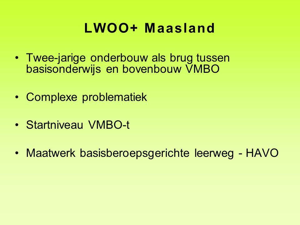 LWOO+ Maasland Twee-jarige onderbouw als brug tussen basisonderwijs en bovenbouw VMBO Complexe problematiek Startniveau VMBO-t Maatwerk basisberoepsgerichte leerweg - HAVO