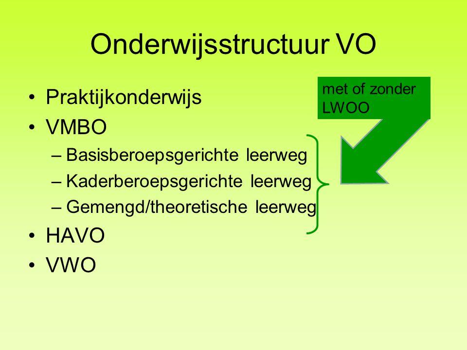 Onderwijsstructuur VO Praktijkonderwijs VMBO –Basisberoepsgerichte leerweg –Kaderberoepsgerichte leerweg –Gemengd/theoretische leerweg HAVO VWO met of zonder LWOO
