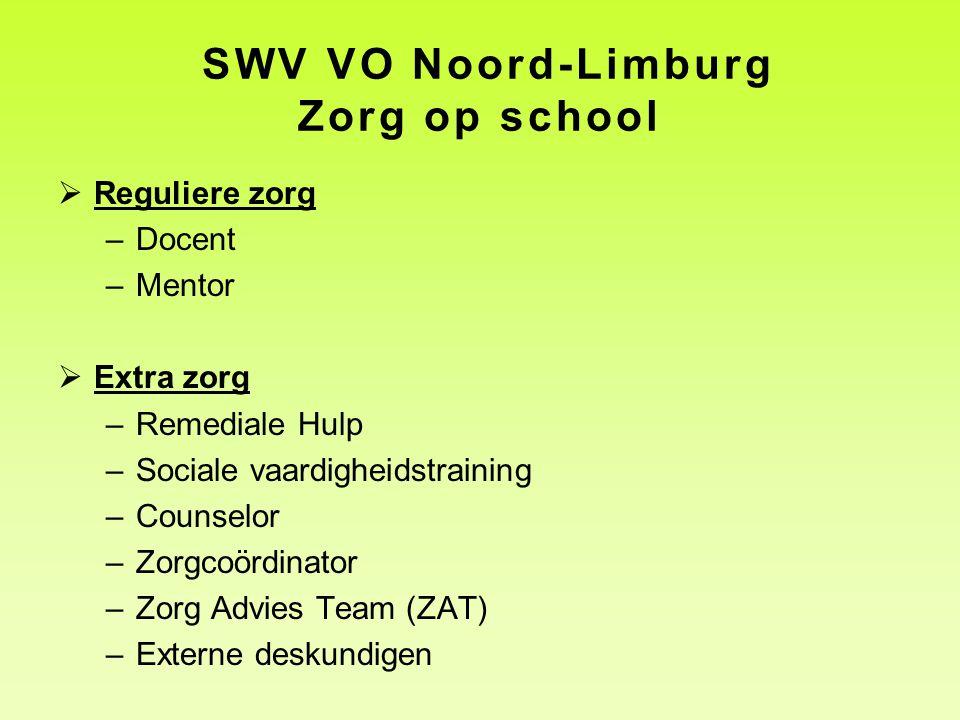 SWV VO Noord-Limburg Zorg op school  Reguliere zorg –Docent –Mentor  Extra zorg –Remediale Hulp –Sociale vaardigheidstraining –Counselor –Zorgcoördinator –Zorg Advies Team (ZAT) –Externe deskundigen