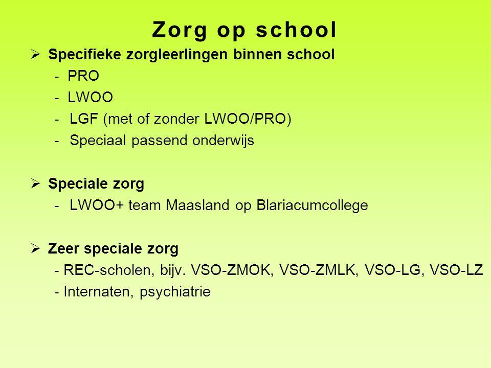 Zorg op school  Specifieke zorgleerlingen binnen school - PRO - LWOO -LGF (met of zonder LWOO/PRO) -Speciaal passend onderwijs  Speciale zorg -LWOO+ team Maasland op Blariacumcollege  Zeer speciale zorg - REC-scholen, bijv.