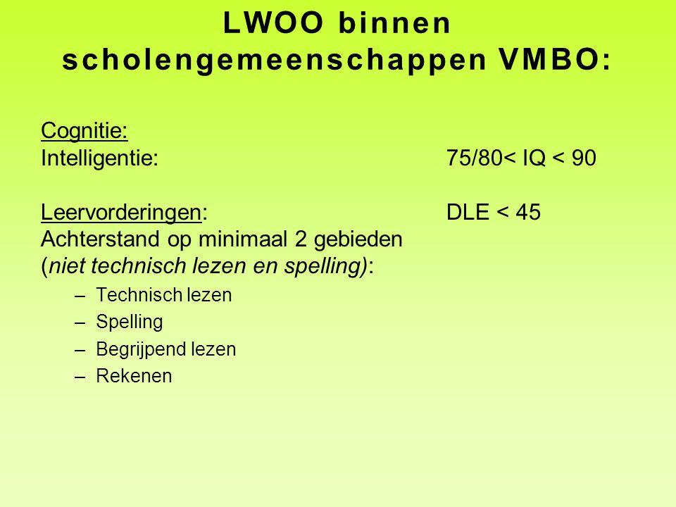 LWOO binnen scholengemeenschappen VMBO: Cognitie: Intelligentie:75/80< IQ < 90 Leervorderingen: DLE < 45 Achterstand op minimaal 2 gebieden (niet technisch lezen en spelling): –Technisch lezen –Spelling –Begrijpend lezen –Rekenen