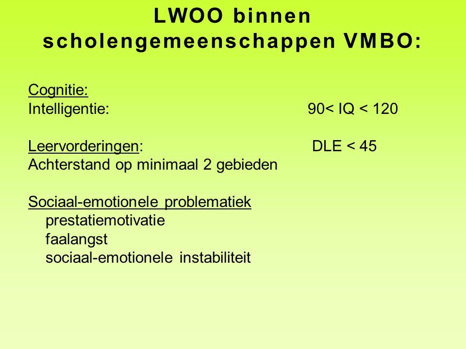 LWOO binnen scholengemeenschappen VMBO: Cognitie: Intelligentie:90< IQ < 120 Leervorderingen: DLE < 45 Achterstand op minimaal 2 gebieden Sociaal-emot