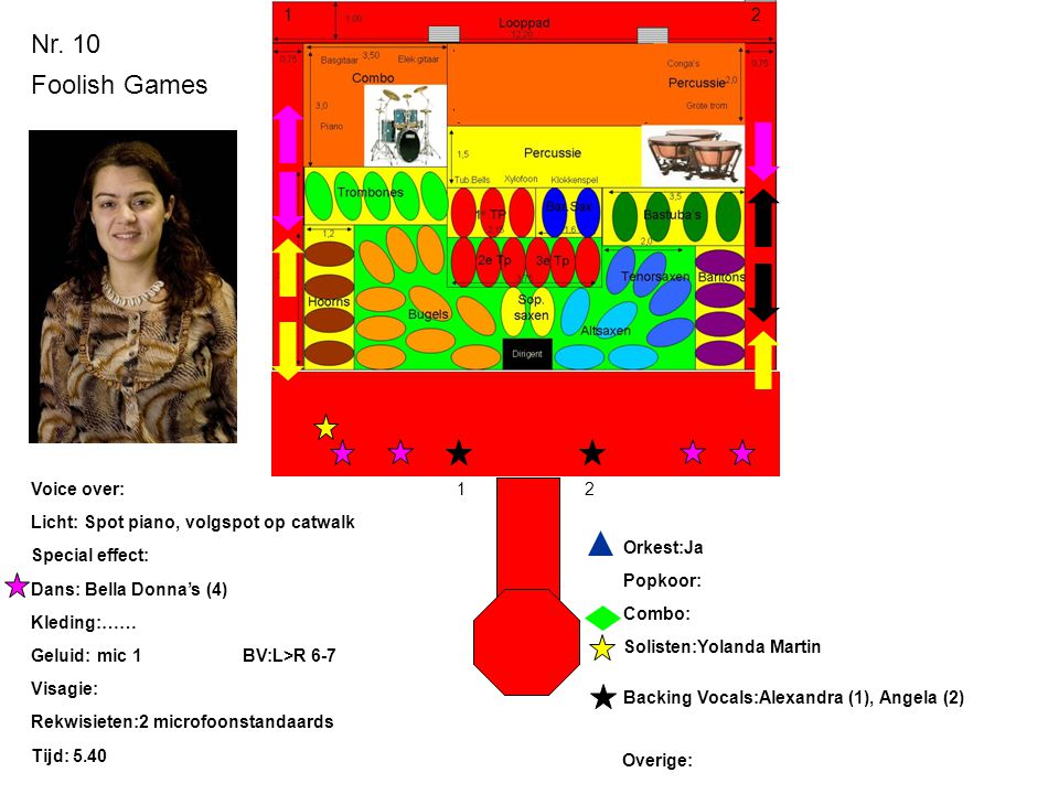 Nr. 10 Foolish Games Licht: Spot piano, volgspot op catwalk Special effect: Dans: Bella Donna's (4) Kleding:…… Geluid: mic 1BV:L>R 6-7 Visagie: Rekwis