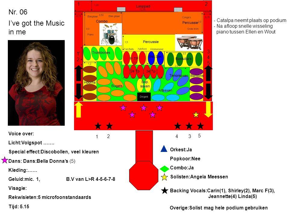 Nr. 06 I've got the Music in me Licht:Volgspot ……. Special effect:Discobollen, veel kleuren Dans: Dans:Bella Donna's (5) Kleding:…… Geluid:mic. 1,B.V